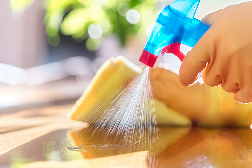 Cleaning with spray detergent, rubber gloves and cloth