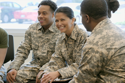 Military personnel smiling